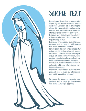 saint: vector illustration of praying virgin Mary