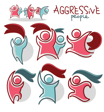 aggressive people: linear icons of aggressive people and ribbons
