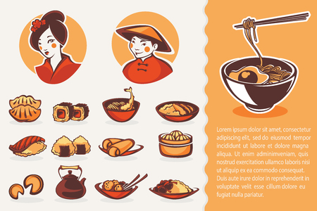 ni�as chinas: colecci�n de vectores de s�mbolos de comida japonesa