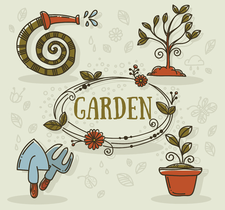 pruner: hand drawn gardening icons in doodle style Illustration
