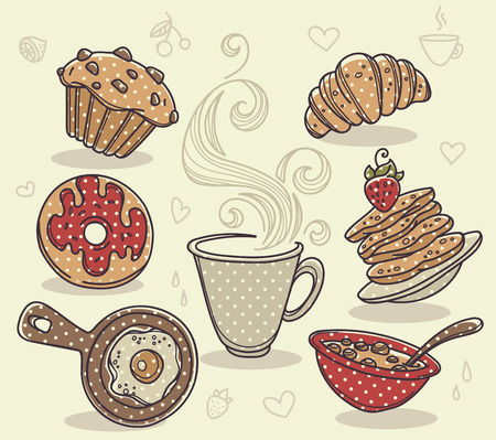 toast: good morning, hand drawn collection of traditional breakfast meal Illustration