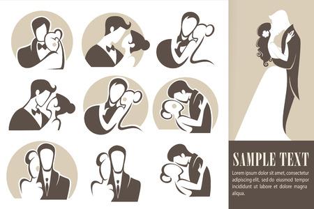 silueta hombre: feliz boda, la novia y el novio, iconos de la boda, emblemas