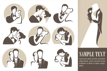 happy wedding,bride and groom, wedding icons, emblems