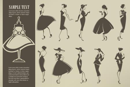 nieuwe look meisjes, vector collectie van meisjes in retro stijl