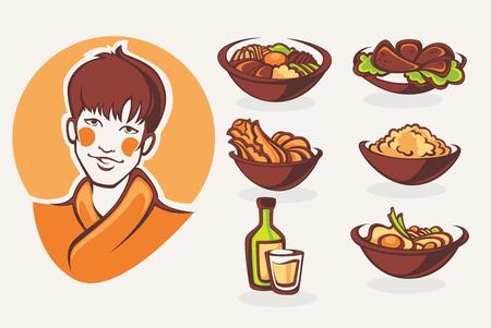 korean food: vector collection of korean food symbols