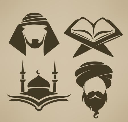 이슬람은 심볼과 로고, 벡터 아이콘 모음