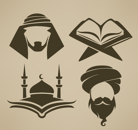 islamic: islam icons symbols and logo, vector collection