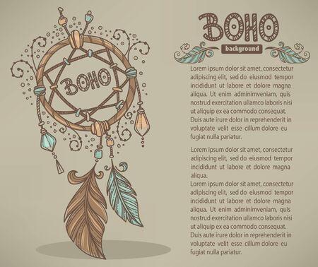 boho: Boho chic, hand drawn background