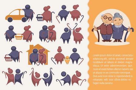 vejez feliz: feliz jubilación: vector colección de viejos símbolos de la gente