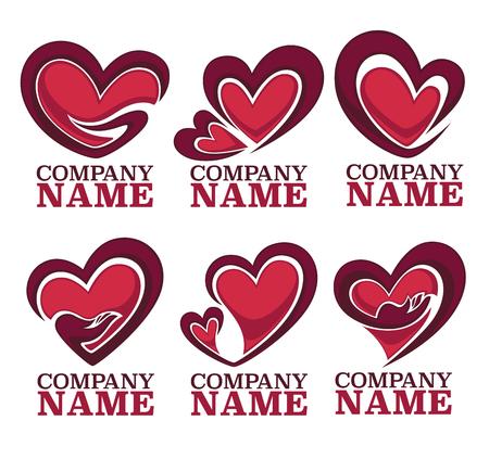 corazon en la mano: vector colección de corazón, las manos y el amor logotipo, concepto, etiquetas y formularios
