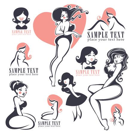 femme en sous vetements: vector collection des filles de pin-up illustration et logo
