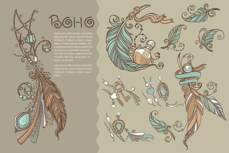 boho: Boho chic, collection of vector hand drawn elements