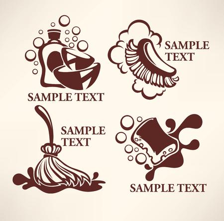 washing dishes: cleaning emblems, logo, symbols Illustration