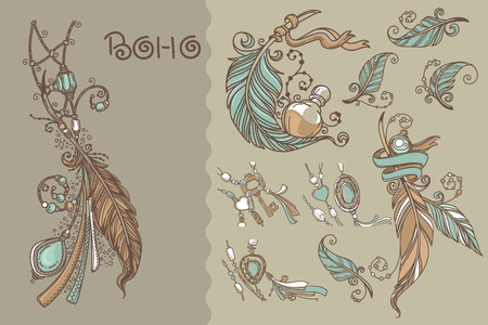 Boho chic, collection of vector hand drawn elements