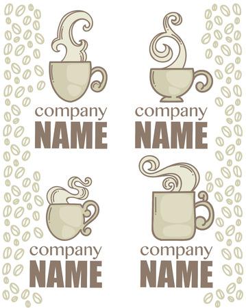 mug: coffee and tea, vector logo collection
