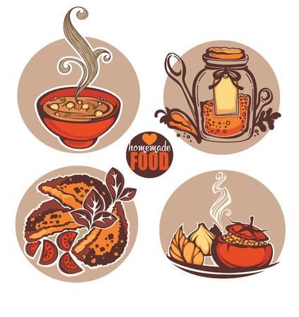 Homemade food, vector food illustration