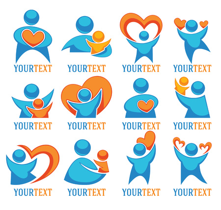 joy of life: vector love, people, family and hearts large logo collection