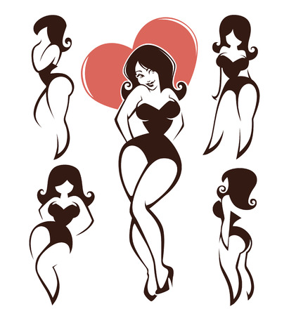 size: vector collection of plus size pin up girls