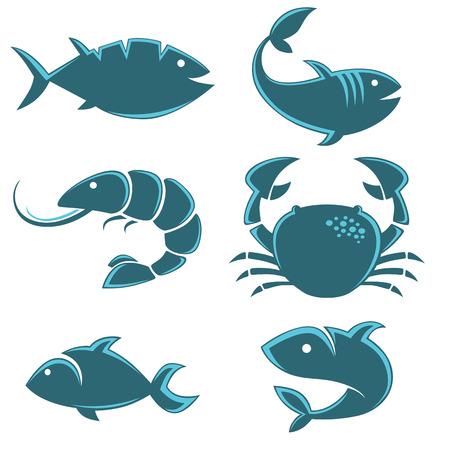 dessin au trait: Set de poissons de vecteur icônes, signes, symboles et emblèmes