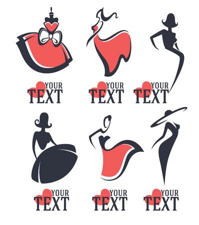divat: divat és szépség logó és embléma gyűjtemény Illusztráció