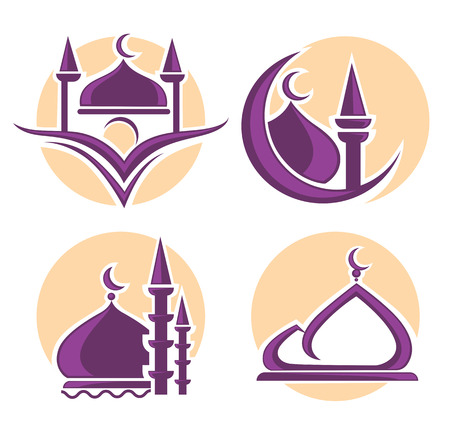 islamic pray: islam icons symbols and logo, vector collection