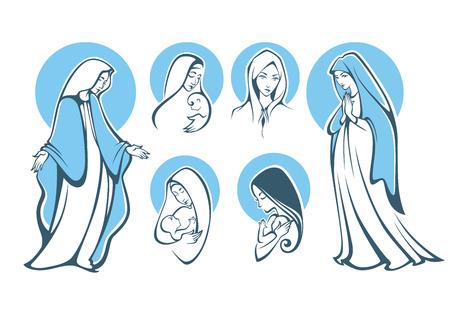 virgen maria: ilustraciones de vectores de rezar virgen María