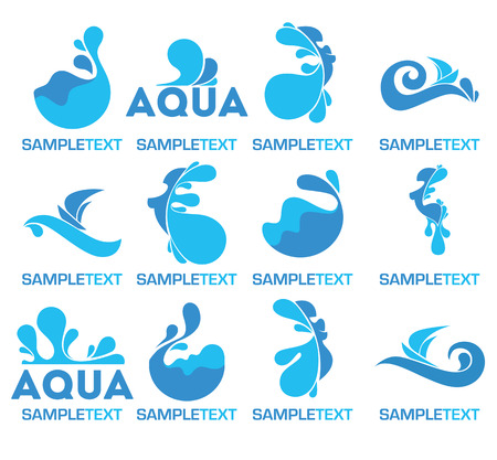 deep ocean: vector collection of water logo, icons and symbols