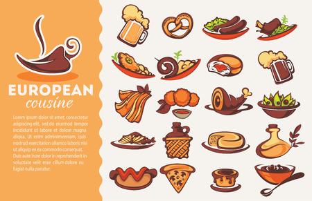 schnitzel: european cousine, vector collection