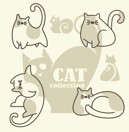 fluffy: funny cats cats, my favorite pets, vector collection