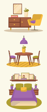 family living room: sweet home style, vector furniture collection Illustration