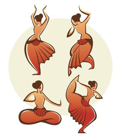 bharatanatyam dance: illustration of stylized Indian women classical  bharatnatyam  dancer