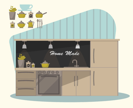 modern kitchen: Modern  kitchen interior and cooking objects Illustration