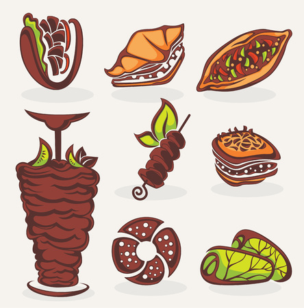vector collection of arabian food images Illustration