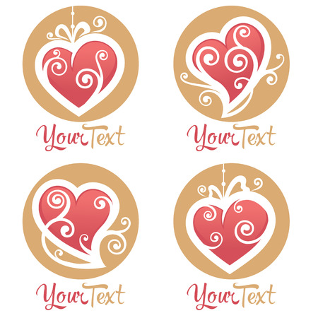 collection of heart,  love, concept, labels and forms