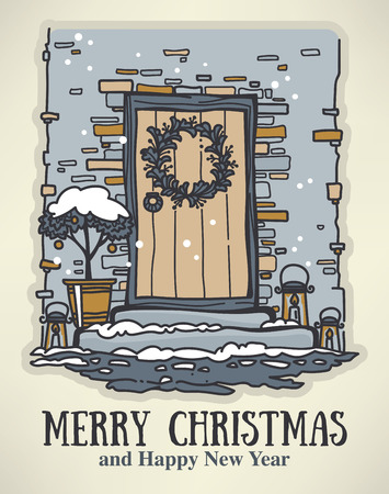 christmas wishes: Christmas hand drawn postcard with Christmas wishes. Illustration