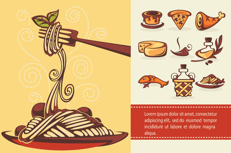 Italian menu,  collection of food and beverages symbols Ilustração