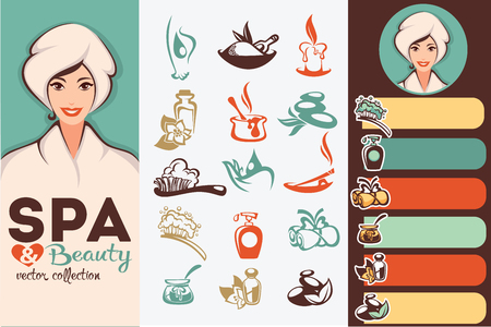 beauty treatment: beautiful cartoon woman and natural spa icons, emblems and backgrounds collection