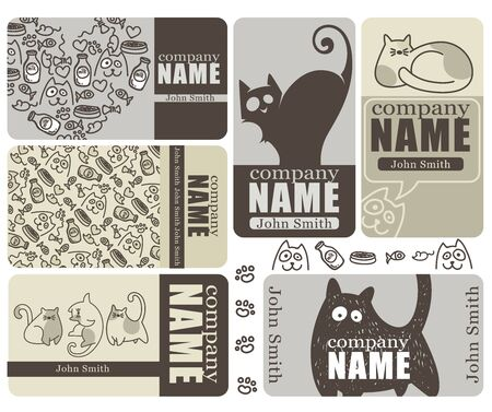 namecard: business and discound cards with doodle cats Illustration