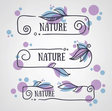 eco notice: vector collection of doodle flowers emblems frames and logo Illustration
