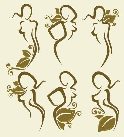siluetas de mujeres: vector colección de imágenes de la muchacha sencilla decoración withfloral
