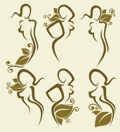 body line: vector collection of simple girls images withfloral decoration