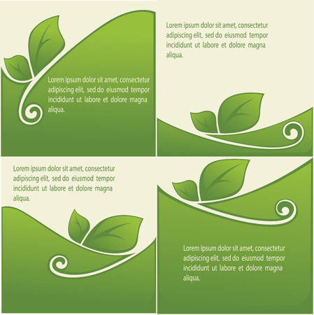 grows: vector collection of leaf frames, labels and stickers