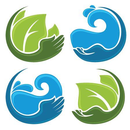 manos limpias: colección de vectores de manos limpias, agua fresca y hojas verdes Vectores