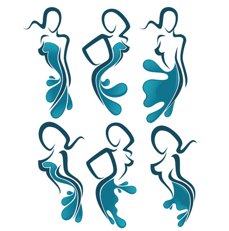 beauty girls: vector collection of water girls silhouette, for beauty and spa salon