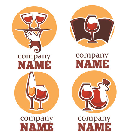 ferment: vector collection of alcohol and wine symbols Illustration