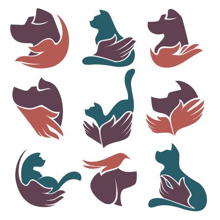huisdieren liefde en friendshep, vector collectie