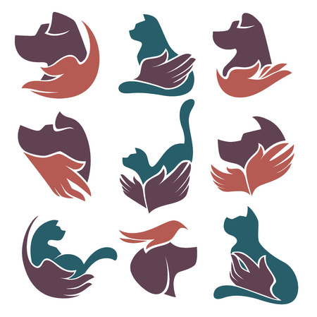 pets love and friendshep, vector collection Illustration