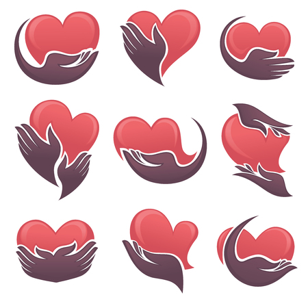heart health: symbols of humans hands and hearts symbols