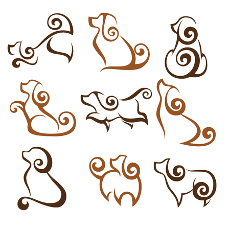my favorite pet, vector collection of dogs symbols