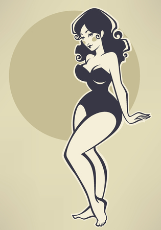 image size: plus size pin up girl on beige background
